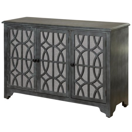 3-Door Fabric-Covered Wood Overlay Cabinet - Light Grey Exterior