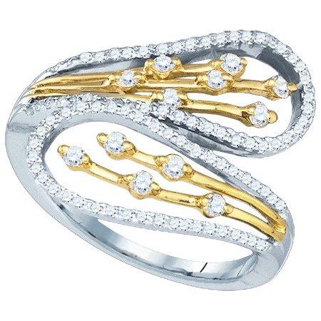10K Yellow Gold Two Tone 0.49ctw Fancy Sleek Pave Diamond Fashion Band Ring