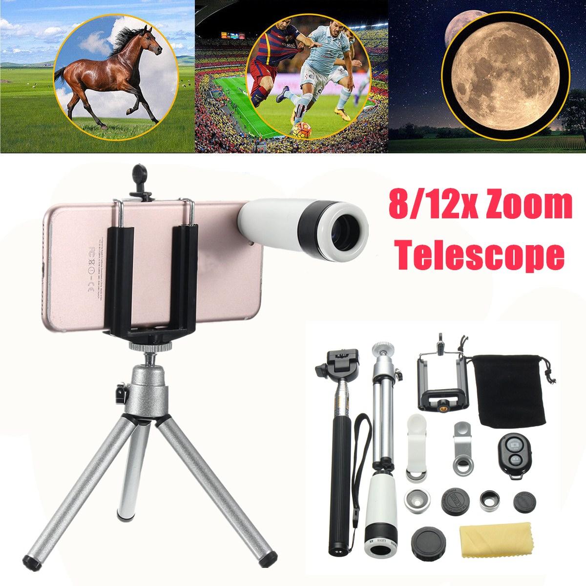 Telephoto Lens Camera Lens Kit-10 in 1 12x Magnification Phone Lens Fisheye+Wide Angle+Macro+Telephoto Lens Kit For Mobile Smart Phone