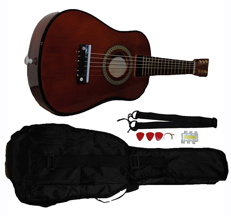 Mini Kids Acoustic Toy Guitar Kit Gig Bag + Picks + Strap + Tuner Coffee by