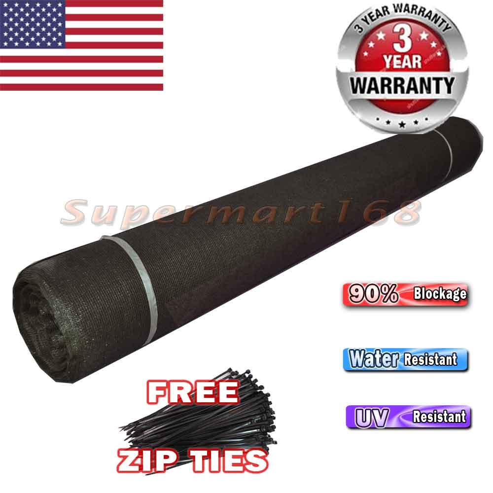Black 6'X150' Privacy Screen Mesh Fence Cover Windscreen Fabric Zip Tie Included... by Decorative Fences
