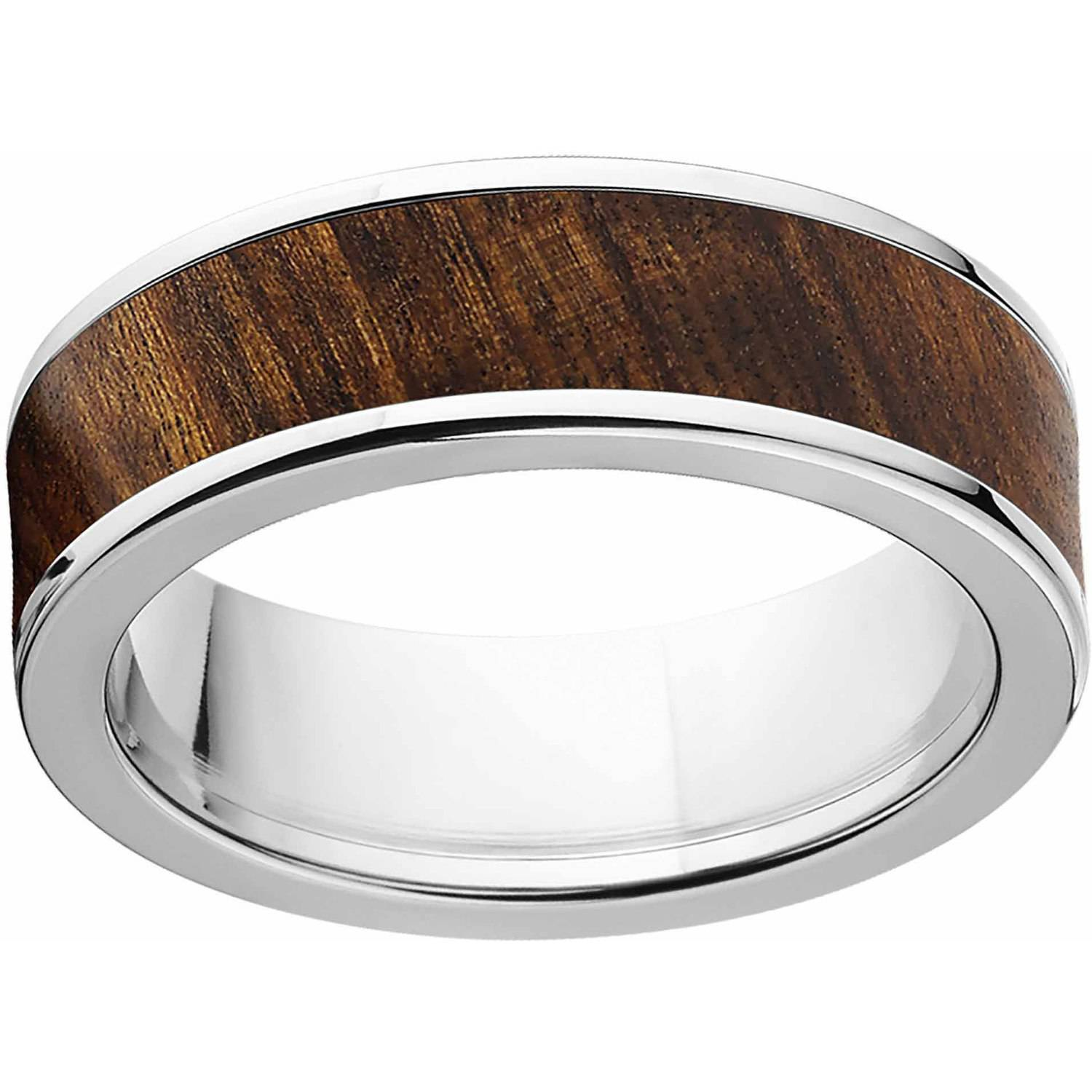 Men's 7mm Tamboti Exotic Wood Stainless Steel Band