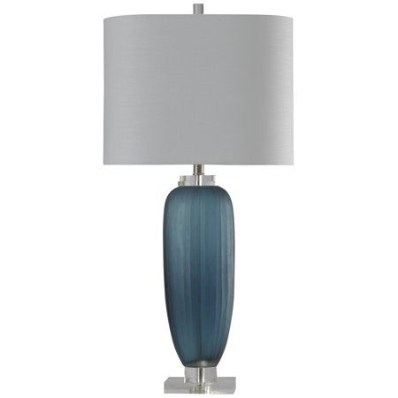 Nicosia - Ribbed Glass Table Lamp - Nicosia Blue Finish w/ Clear Acrylic Base - White Hardback -