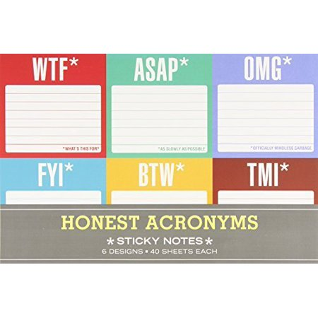 Sticky Note Packet: Honest Acronyms by Knock Knock (2013) - Fit Notes