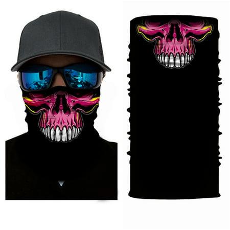 Moretek 3D Polyester Headband for Halloween, Breathable Sunscreen Polyester Mask Neck Face Mask Halloween Props for Outdoors (Skull)