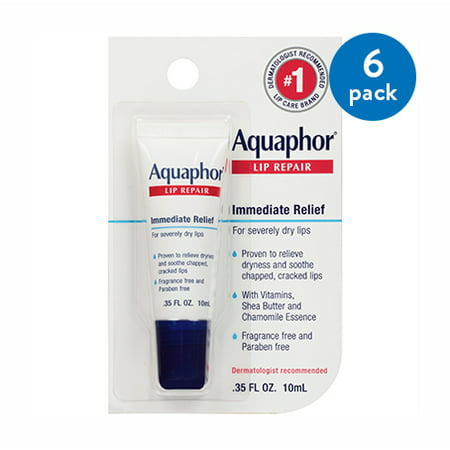 (6 Pack) Aquaphor Lip Repair .35 fl. oz. Carded