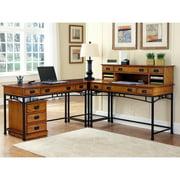 """Modern Craftsman Corner """"L"""" Desk and Mobile File"""