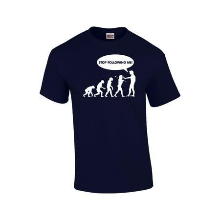 Mens Rambler Brown Bomber - Evolution T-shirt Stop Following Me Caveman