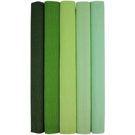 Just Artifacts Premium Crepe Paper Rolls - 8ft Length/20in Width (5pcs, Color: Shades of Green) - Crepe Paper Rolls