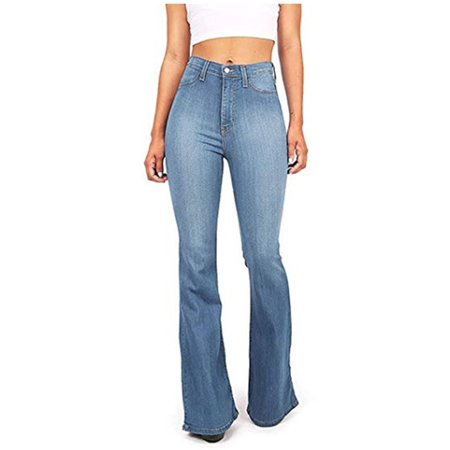 SIBYLLA Womens Bell Bottom Jeans High Waisted Flare Fitted Casual Plain Denim Pants