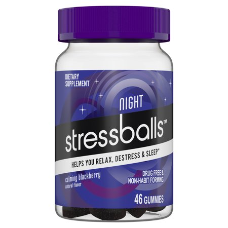 Stressballs NIGHT Sleep and Stress Supplement to Help You Destress and Sleep,* 46 Gummies with Melatonin and an Herbal Blend of Ashwagandha, Chamomile