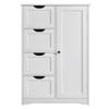 Wooden Bathroom Floor Cabinet Wooden Free Standing Storage Organizer w/ 4 Drawers White