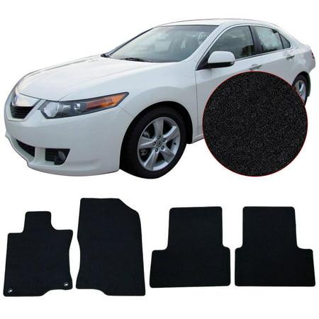 Fits 09-14 Acura TSX Black Nylon Front Rear Floor Mats Carpets 4PC