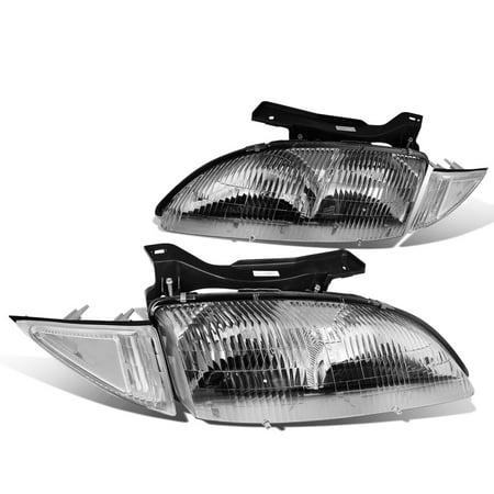 For 95 99 Chevy Cavalier Pair Of Chrome Housing Headlight   Clear Corner Lights 3Rd Gen Z24 Rs