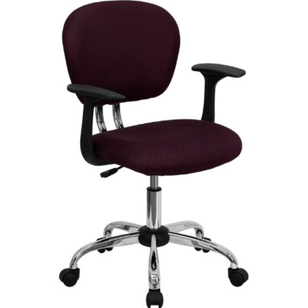 Flash Furniture H-2376-F-BY-ARMS-GG Mid-Back Burgundy Mesh Task Chair with Arms and Chrome - Mid Back Burgundy Mesh