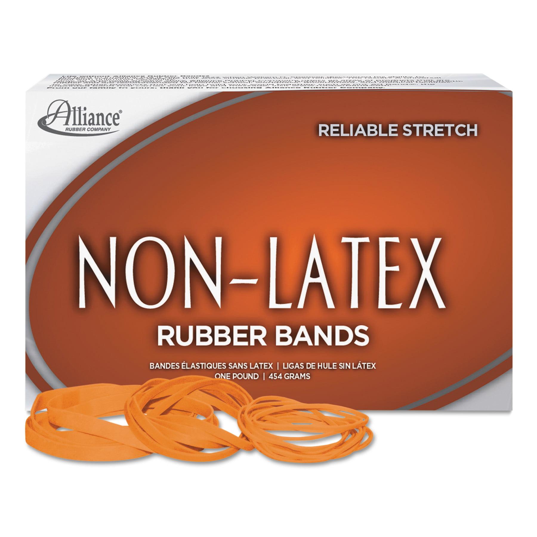 Alliance Non-Latex Rubber Bands, Sz. 64, Orange, 3 1/2 x 1/4, 380 Bands/1lb Box -ALL37646