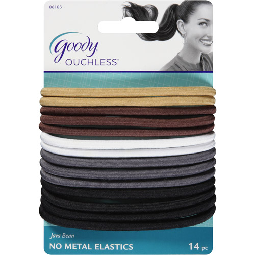 goody ouchless no metal hair elastics java bean 14