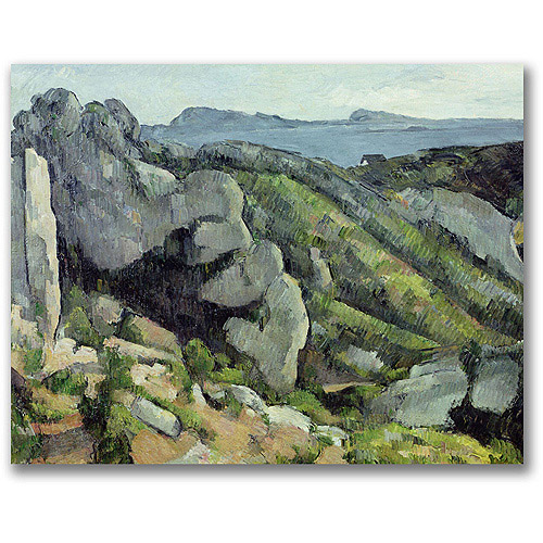 "Trademark Fine Art ""Rocks at L'Estaque"" Canvas Wall Art by Paul Cezanne"