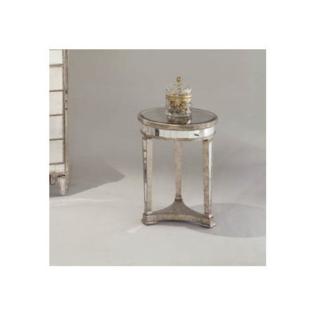 Willa Arlo Interiors Roehl Mirrored Round End Table In Antique Silver