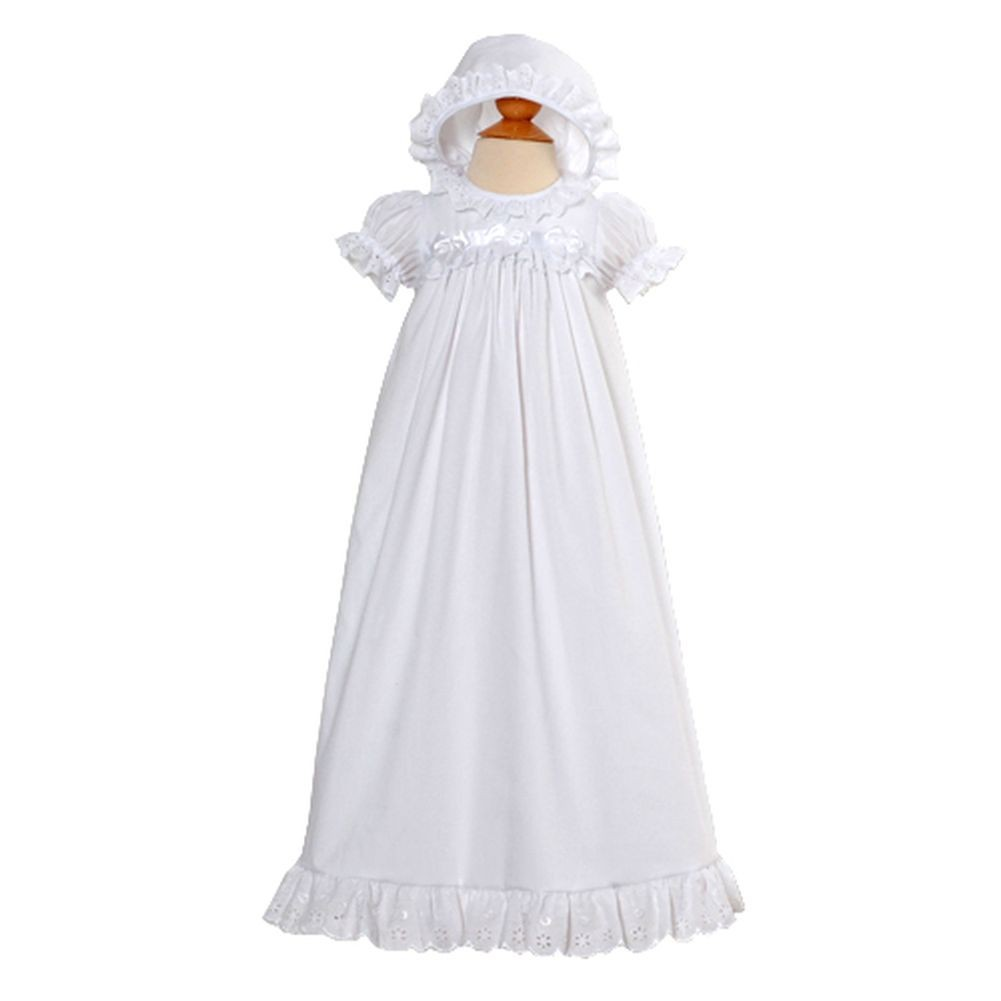 Baby Girls Preemie 9M White Christening Baptism Dress Gown