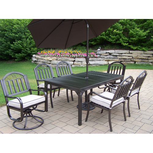 Oakland Rochester 9 Piece Dining Set with Cushions and Um...