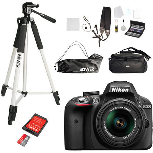Nikon D3300 Digital SLR Camera and 18-55mm Lens with BONUS Memory Card, Bag and Tripod Value Bundle
