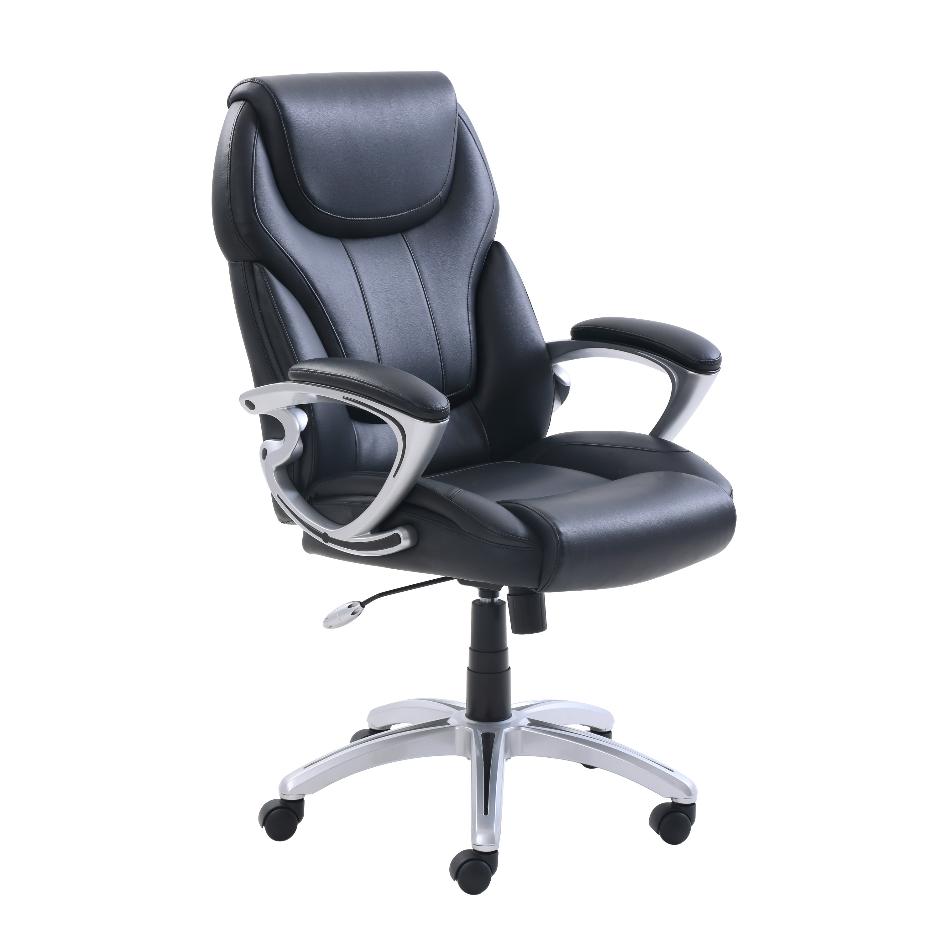 True Innovations Bonded Leather Managers Chair, Black Upholstery