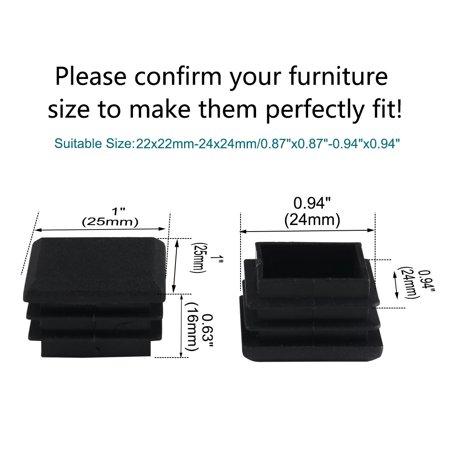 16pcs 25 x 25mm Plastic Square Tube Inserts Cover Black Shelves Leg Protector - image 6 of 7
