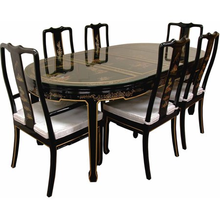 hand painted on black lacquer dining table with 6 chairs