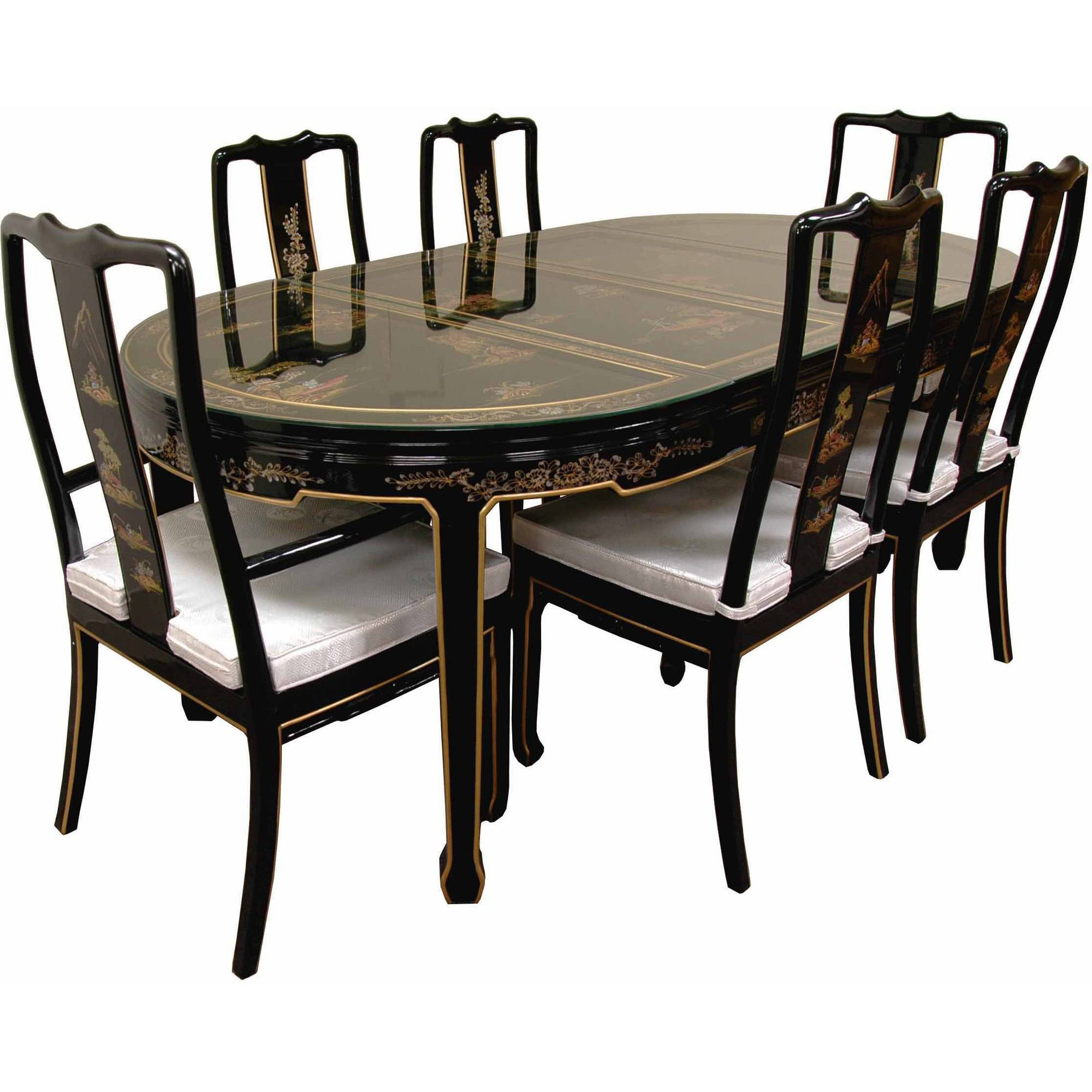 Superieur Hand Painted On Black Lacquer Dining Table With 6 Chairs