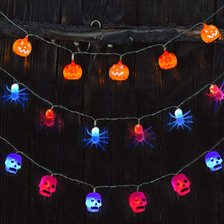 Halloween Lights Battery Operated with Pumpkin, Skull and Spider Halloween Decorations String Lights for Outdoor and Indoor,Set of 3 F-211 ()