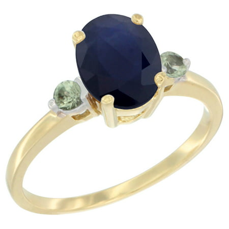 Ceylon Light Blue Sapphire (10K Yellow Gold Natural Diffused Ceylon Sapphire Ring Oval 9x7 mm Green Sapphire Accent, size 5.5 )