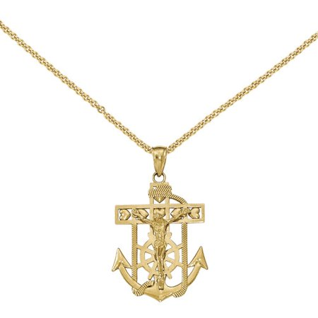 14kt Yellow Gold Polished and Textured Mariner's Crucifix Pendant