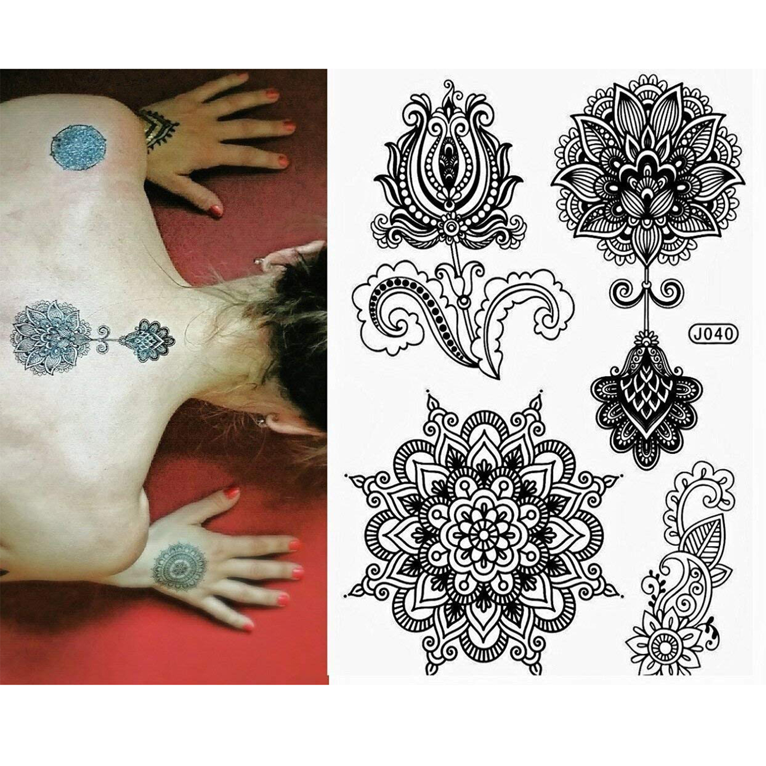 00e68bcb2 6 Sheet Henna Tattoo Stickers Black Lace Mehendi Temporary Tattoos for  Adventurous Women Teens & Girls Metallic Tattooing - Walmart.com