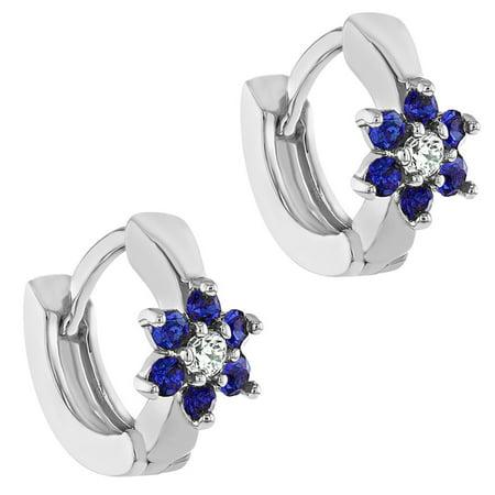 4a4d480bbee5f Rhodium Plated Navy Blue Crystal XS Flower Huggie Hoop Earrings Girl 8mm