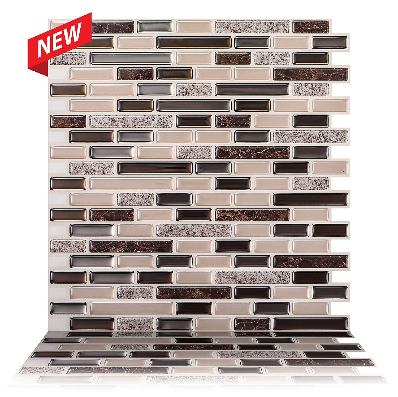 Tic Tac Tiles - Premium Anti Mold Peel and Stick Wall Tile Backsplash in Como Crema (10-Tiles)