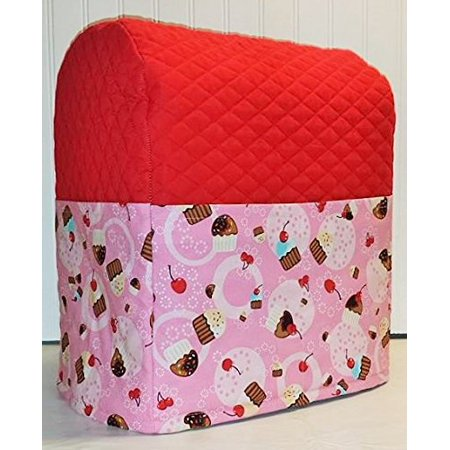 Cupcake Theme Quilted Cover for Kitchenaid 7 Quart Lift Bowl Stand Mixer (Red & Pink)