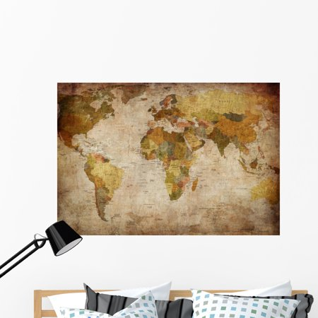 World map wall mural by wallmonkeys peel and stick graphic 48 in w world map wall mural by wallmonkeys peel and stick graphic 48 in w x 33 in h wm75416 gumiabroncs Images