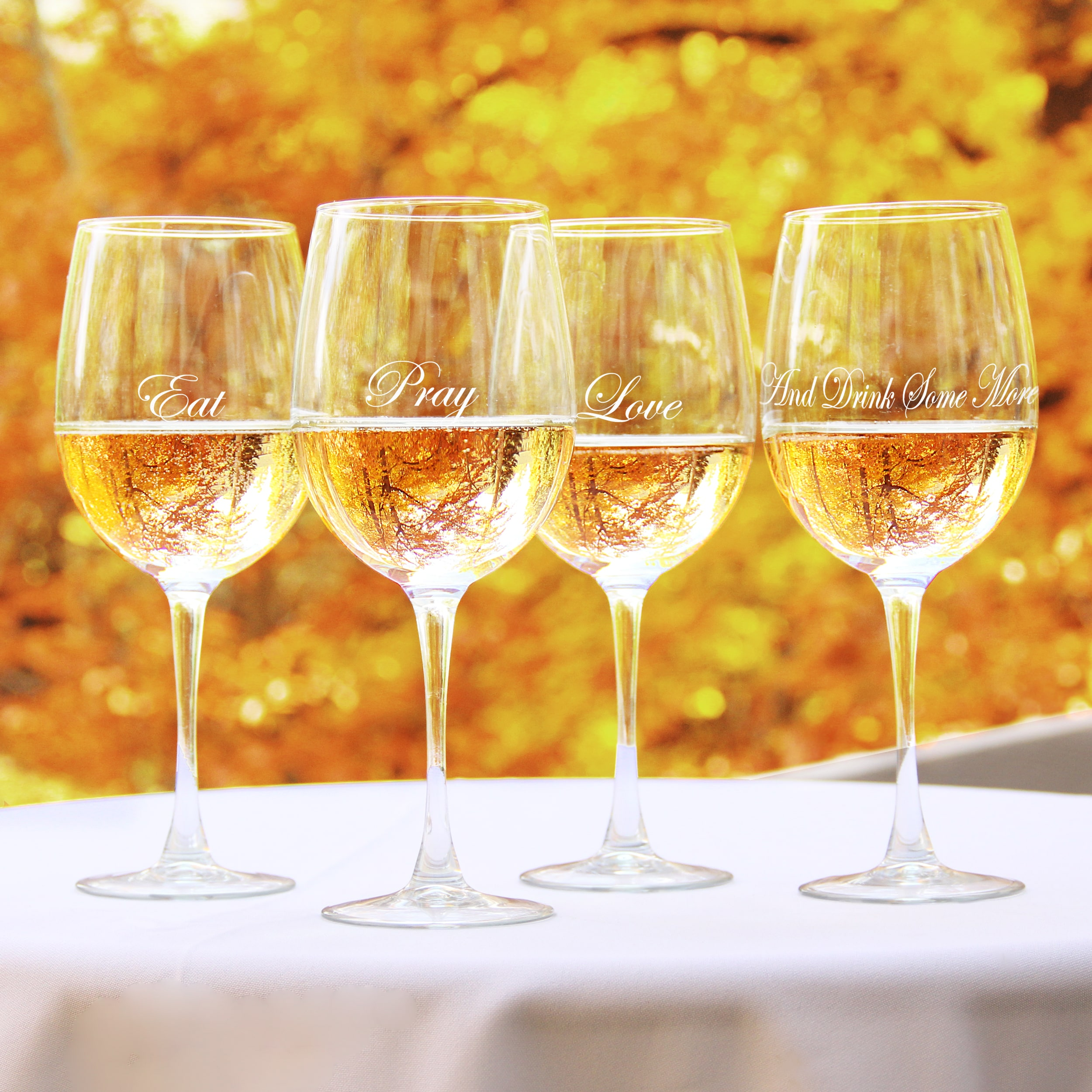 Cathy's Concepts Eat, Pray, Love White Wine Glasses (Set of 4)
