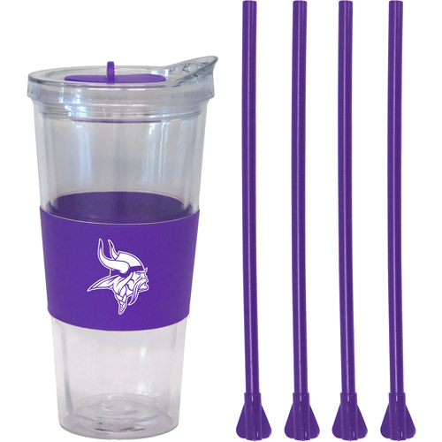 22oz NFL Minnesota Vikings Slider Top Tumbler with 4 Colored Replacement Straws