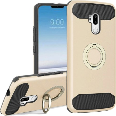 Insten Dual Layer Hybrid Case with Ring Holder Finger Grip Kickstand Scratch Resistant Heavy Duty Drop Protective Carbon Fiber Trim Phone Cover For LG G7 ThinQ - Gold