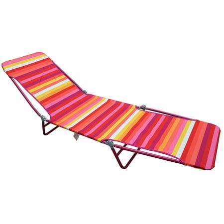 Mainstays Fabric Folding Lounger Red Stripe Walmart Com