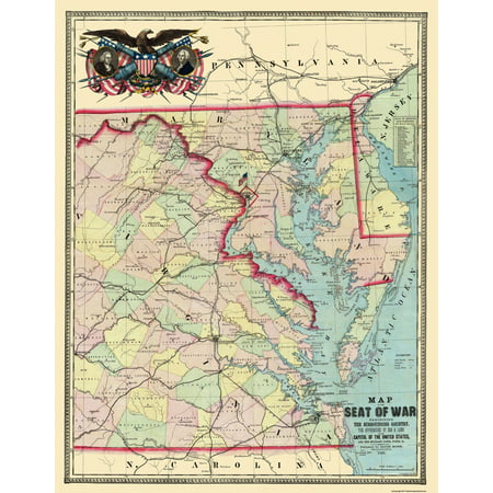 Map Of Us 1861.Civil War Map Print Eastern Us Approaches Military Posts Forts