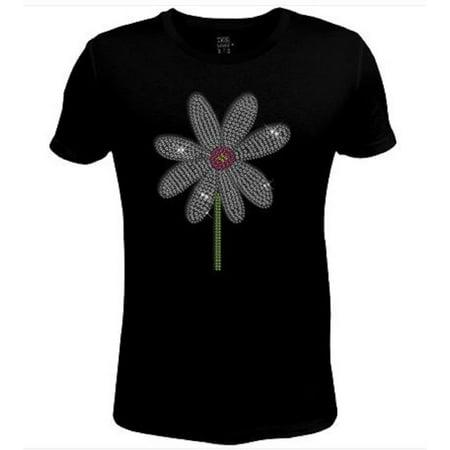 Rhinestone Womens T Shirt Cute Daisy Flower  JRW-617