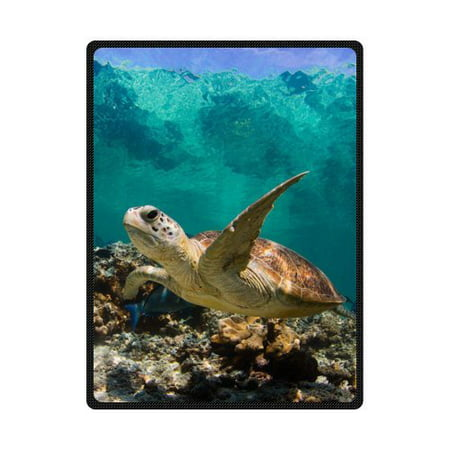 B&m Short Throw - CADecor Sea Turtle Fleece Blanket Throw Blanket 58x80 inches