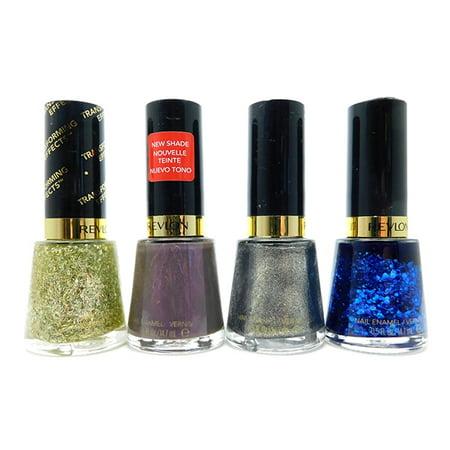 Revlon Nail Enamel set of 4: 735 Golden Confetti, 330 Naughty, 935 ...