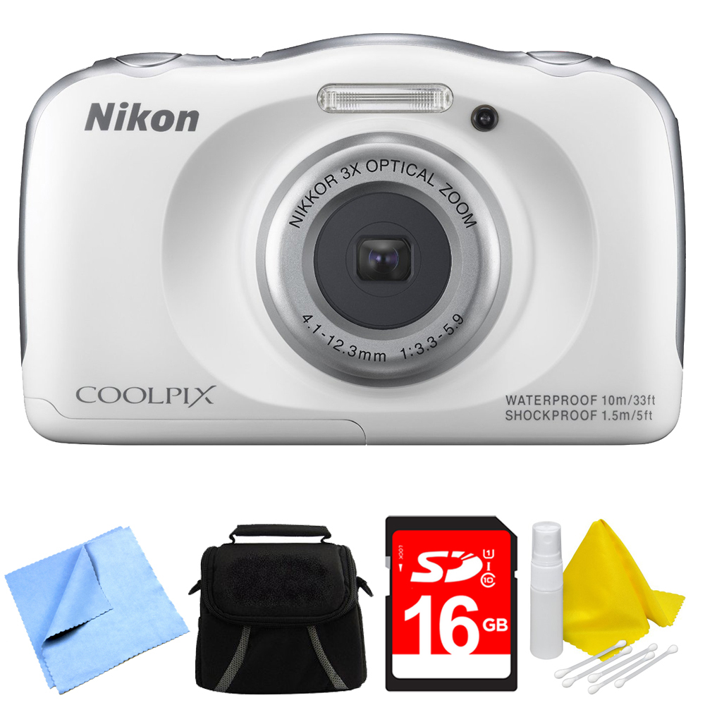 Nikon COOLPIX S33 13.2MP Waterproof Shockproof Freezeproof Digital Camera White Bundle - Includes Camera, Compact Deluxe Gadget Bag, 16GB Secure Digital SD Memory Card, Cleaning Kit and Cleaning Clot