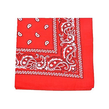 Qraftsy 100% Cotton Versatile High Quality Bandana - Paisley and Solid Colors Available - 12 Pack