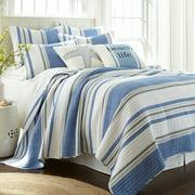 Levtex Home - St Bart Quilt Set - Full/Queen Quilt + Two Standard Pillow Shams - Nautical - Blue, Grey, and White - Quilt Size (88x92in.) and Pillow Sham Size (26x20in.) - Reversible - Cotton Fabric