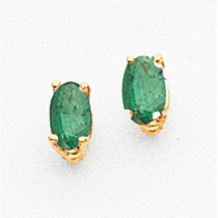 (14k Gold 5x3mm Oval Emerald Earrings)